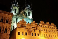 Tyn church in Staromestske Namesti Old Town Square at night, Prague, Czech Republic