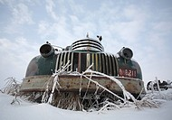 winter art abandoned old farm truck in vehicles