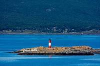 Lighthouse on an island, Les Eclaireurs Lighthouse, Beagle Channel, Tierra Del Fuego, Patagonia, Argentina