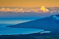West Maui Mountains viewed from Haleakala Crater, Maalaea Bay, Maui, Hawaii, USA