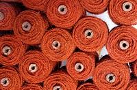 coir floor mats stacked in factory alappuzha