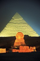 Egypt, Giza, Sphinx, Pyramid of Chephren, night, sound and light show