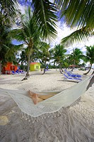 Bahamas, Eleuthera, Princess Cays, lady, relaxing, hammock, beach, palm tree