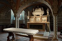altar in the crypt of the cathedral, cremona, lombardia, italy