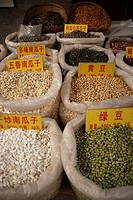 China, Xian, market scene, dried food, market, stall, vendor