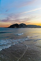 Sunrise with the island of Santa Clara and Mount Urgull  View from the beach Ondarreta  San Sebastián, Guipúzcoa, Basque Country, Spain
