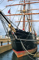 The Royal Research Ship Discovery famous by Robert Falcon Scott who explored Antarctica is now a museum at Discovery Point, Dundee, Scotland, UK