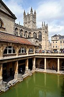 Roman Baths and Bath Abbey Church in the Background