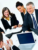 Business group meeting portrait _ Five business people working together A diverse work group