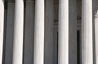 Greek columns of the United States Supreme Court Building in Washington DC