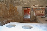 Thermopolium of Asellina in Pompeii in Italy