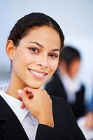 Close_up portrait of an smiling natural beauty business woman