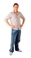 Portrait of a casual young satisfied man Isolated on white
