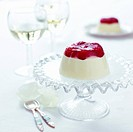 Panna cotta with raspberries