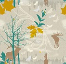 Illustration of deers, leaves, bare trees and urban skyline