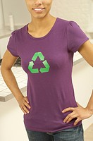 Woman with recycling symbol on t_shirt