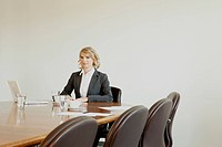 Businesswoman in conference room, Munich, Bavaria, Germany