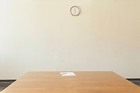 Empty conference room with wall clock, Munich, Bavaria, Germany