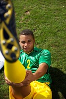Brazilian soccer player stretching