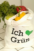 Shopping bag filled with organic products