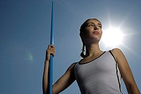 Woman holding a javelin
