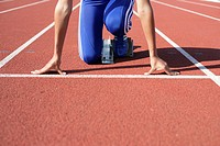 Woman in starting block