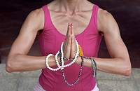 Woman with Praying_Pearls around her Hands _ Buddhism _ Posture _ Meditation