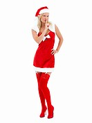 Girl dressed as santa,saying shh