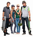 Young boys and girls standing with skateboard and helmet against white background
