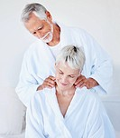 Loving husband giving a massage to his wife