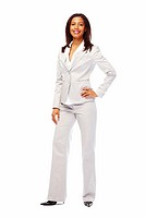 Full length portrait of a young confident business woman posing over white background