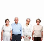 Four aged people standing over white background