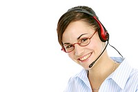 Young woman operator with headset