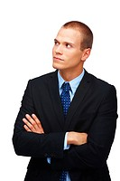 Young confident business man looking away, isolated against white background