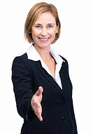 Portrait of beautiful middle aged businesswoman with welcome gesture isolated over white background
