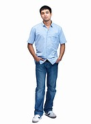 Full length portrait of a casual young man isolated on white background