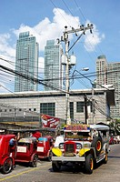 A Jeepney, the most popular means of public transportation in the Philippines   Mandaluyong City  Metro Manila  Philippines