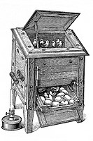 Incubator with built-in dryer.  Old book illustration, 1900