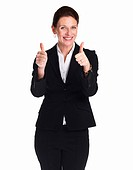 Thumbs up _ Portrait of an excited business woman wishing you luck over white background