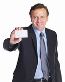 Mature business man showing off his blank business card that is ready for text