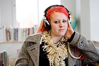 Teenage girl with earphones, Sweden.