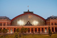 Puerta de Atocha Railway Station, night view. Madrid, Spain