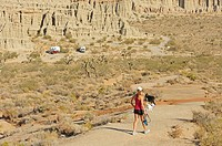 Woman walking back to camp with dogs, Redrock Canyon, California, USA