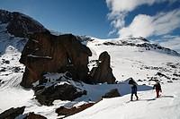 Two skiers, Abisko, Lapland, Sweden.