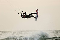A wet kitesurfer, Sweden.