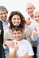 Thumbs up _ Portrait of a cheerful multi generational family wishing you luck