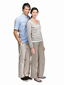 Full length portrait of a confident middle aged couple on white background