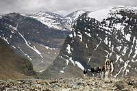 Five people climbing a mountain, Kebnekaise, Lapland, Sweden.