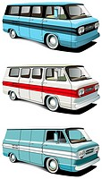 Vectorial icon set of American retro vans isolated on white backgrounds  Every van is in separate layers  File contains gradients and blends