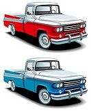 Vectorial icon set of American retro pickups, executed in two colour versions and isolated on white backgrounds  Every pickup is in separate layers  F...